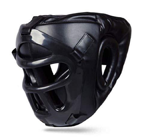 kikfit pelle testa protezione con rimovibile MASCHERA MMA UFC KICKBOXING PROTEZIONE - Nero, Medium