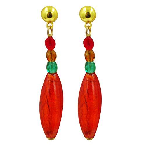 Priann Gioielli - Pendientes de mujer con perlas de cristal de Murano originales, fabricados con hoja de oro de 24 quilates o plata 925, fabricados en Italia rojo