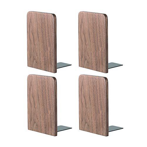 Muso Wood Buchstützen für Regale, nicht überspringende Buchstützen für schwere Bücher, Walnussholz Buchstützen für Schule, Zuhause oder Büro (130x108x80mm-2 Paare)
