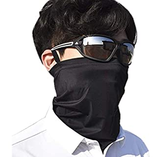 ネックガード 耳掛け ネックカバー バンダナ 冷感 夏 UVカット 吸汗速乾 日よけ サイクリングカバー 防風 多機能 耳掛け黒1枚