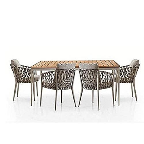 XIAOJU Muebles de jardín de ratán 5 Juegos con 4 sillas Impermeables con Respaldo Alto Acolchado Suave para césped, Patio, Invernadero Interior,A