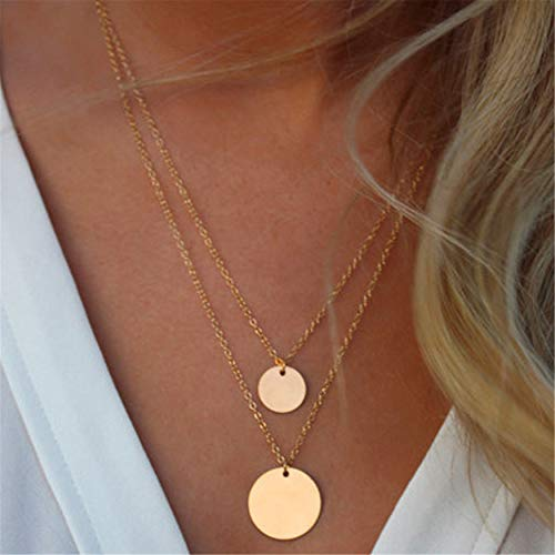 FWQW Layered Choker Necklace Adjustable Pendant Necklace Charm Sequins Coin Choker Double Layer Chain Necklace for Women Girls Boho Jewelry