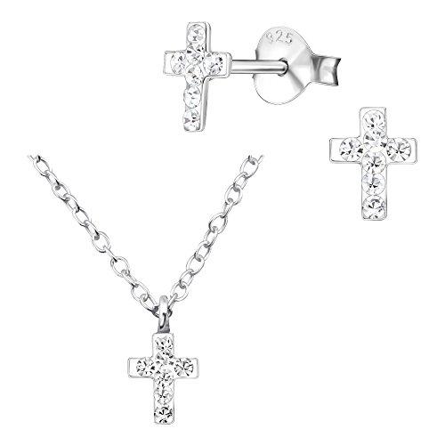 PunkJewelry Ohrringe Ohrschmuck aus 925er Sterling Silber Kinder Ohrstecker und Kinder Halskette für die Taufe im 2er Set Motiv- Kreuz