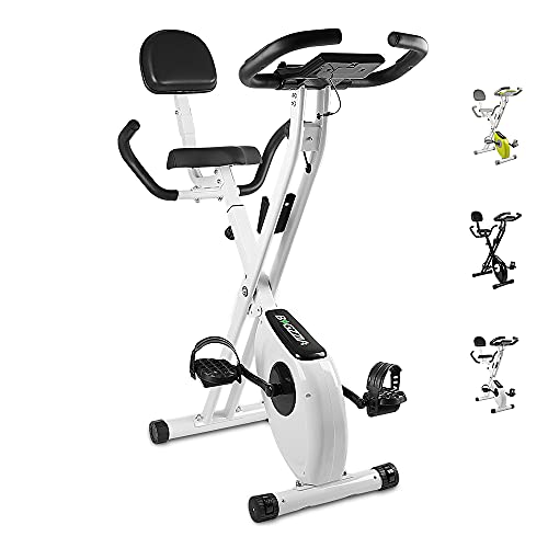Bigzzia Folding Exercise Bike,Upright and Foldable Stationary Bike with Magnetic Resistance/LCD Monitor/Pulse Sensors,Fitness Exercise for Home Gym
