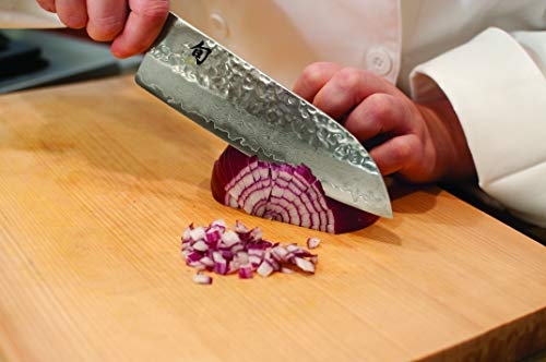 """Shun Cutlery Premier 7"""" Santoku Knife; Easily Handles All Basic Kitchen Cutting Tasks, Light, Agile and Very Easy to Maneuver, Fits in Hand Like a Glove, Hand-Sharpened, Handcrafted in Japan"""