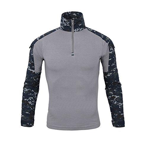 Lanbaosi Kampf-Hemd, militärisch, für Herren, Airsoft, Shirt, Camouflage-Outfit, Unform, Taktik, schnelltrocknend, mit Ärmeln, wasserdicht S marineblau