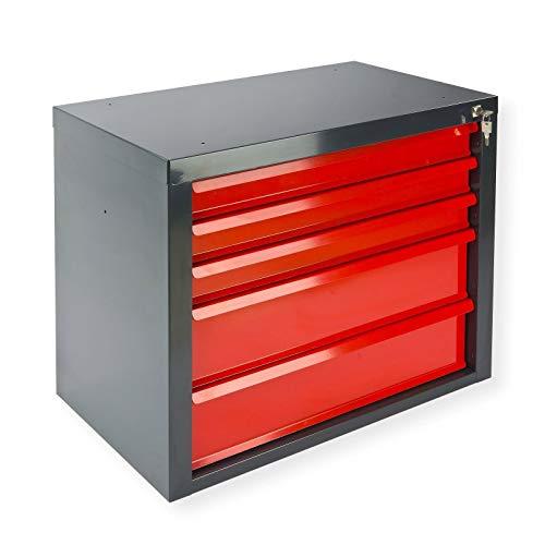 Werkstatt-Schubladenschrank Größe S mit 5 Schubladen, BxTxH: 700x435x600 mm, Korpus RAL Anthrazitgrau, Schubladen rot