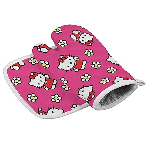 HACVREQ Pink Hello Kitty Flowers Oven Mitts Heat Protector Gloves BBQ Insulation Hot Pan Mat Kitchen Cooking Tool Men Women