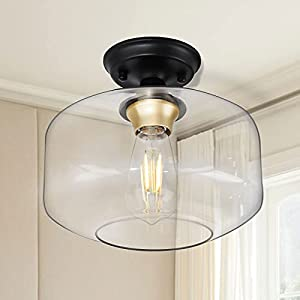 WIHTU Semi-Flush Ceiling Light Fixture, Industrial Farmhouse Close to Ceiling Light for Hallway, Matte Black Ceiling Lightings with Clear Tempered Glass Lampshade and E26 Base, for Kitchen Entryway