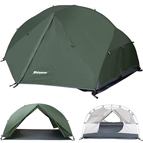Shinyever テント 2人用 キャンプテント アウトドアテント 広いスペース 二重層 超軽量 自立式 通気 コンパクト収納 防雨 防風 防災 登山 組立簡単 専用グランドシート&収納袋付き