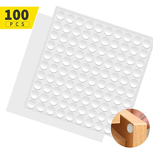 Fu Store Clear Self Adhesive Bumpers Noise Dampening Buffer Pads 100PCS 3/8 Inch Protection for Cabinet Door Drawer Wooden Floor-Hemispherical