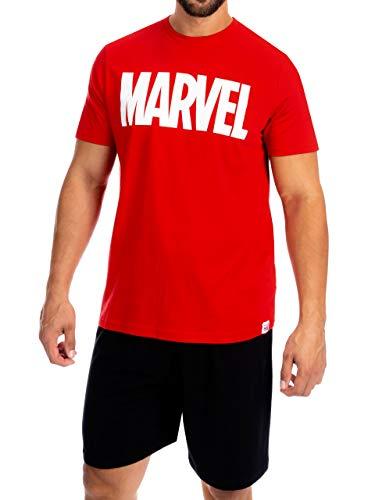 Marvel Herren Schlafanzuge Rot Size Large