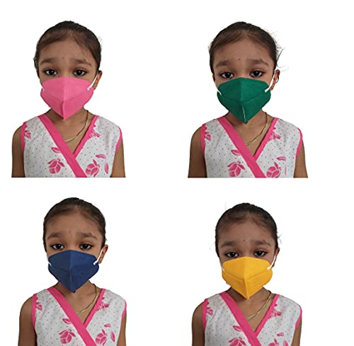 KIARVI GALLERY Kids n95 anti Pollution face mask 5 Layer Reusable Washable with adjustable elastic Ear Loops Face mask for up to 14 Year kids boys girls and children (Pack of 4 Multicolor)