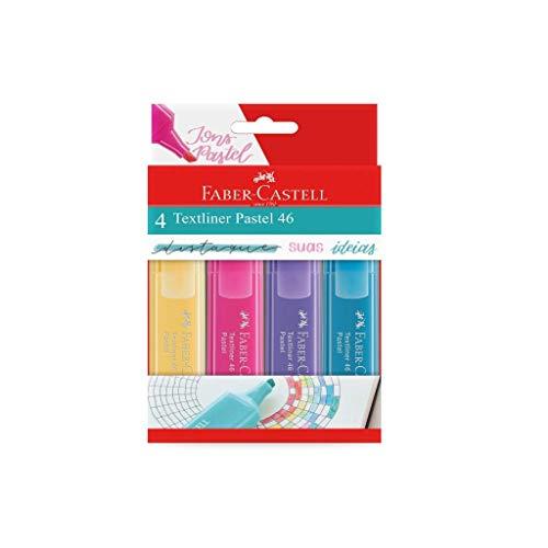 Marca Texto Tons Pastel, Faber-Castell, MT/15464, Textliner Pastel 46, 4 cores
