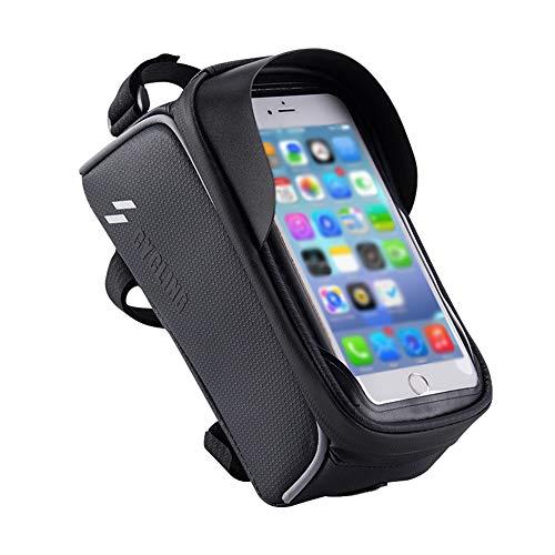 MINGZE Fahrrad Rahmentasche, Wasserdicht Lenkertasche mit Touch Entsperrung, Fahrradtasche mit Sensitivem TPU-Touchscreen, Handyhalterung Fahrrad Handyhalter Geeignet für Smartphones bis 6 Zoll