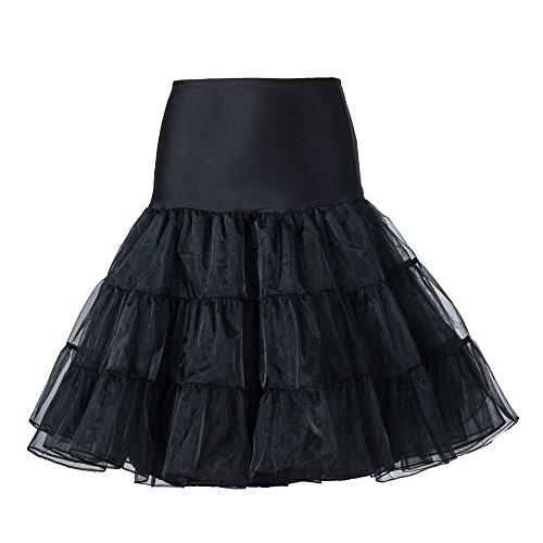 """Boolavard 50's 1950 26"""" Rockabilly Petticoat Sottogonna Gonna Retro Annata Altalena Rosso, Nero, Bianco, Blu, Rosa (XS-M (38-46), Nero)"""