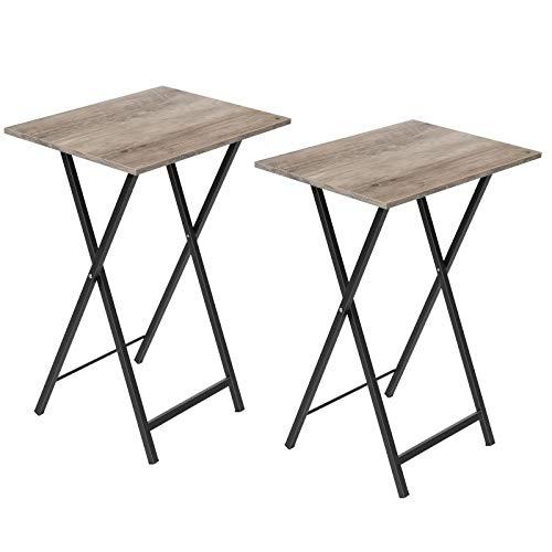 HOOBRO Beistelltische, Klappbar Tablett Tisch, Sofatisch 2er-Set, Serviertisch Snack Tisch im Industriestil, Kaffeetisch TV Tray für kleinen Raum, einfach montierbar, stabiles, Greige EBG25BZ01