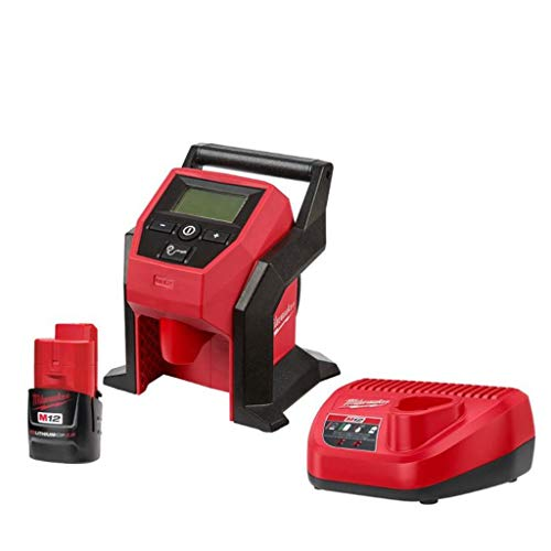 Milwaukee M12 12-Volt Lithium-Ion Cordless Compact Inflator with 2.0 Ah Battery and Charger