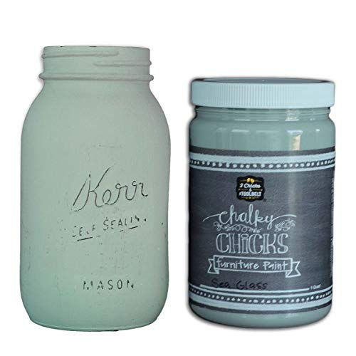 Chalky Chicks | Chalk Finish Paint | Perfect For Furniture, Cabinets, Home Decor, & DIY Craft Projects | 32 oz | Sea Glass