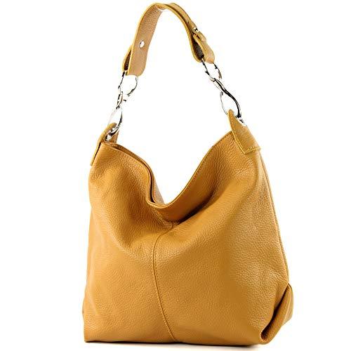 modamoda de - ital bolsa de hombro/hombro hecha de cuero T168, Color:amarillo mostaza