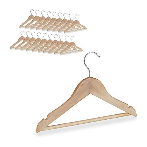 Relaxdays - Set di 20 grucce per bambini, con asta per pantaloni, camicia, girevole a 360 gradi, per ragazze, ragazzi, in legno, colore naturale