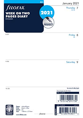 Filofax 2021 Terminplaner, A5, 1 Woche auf 2 Seiten