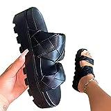 Dingyue Sandalias de mujer de verano de moda de suela gruesa plana tejida de color sólido zapatillas de interior sandalias de playa