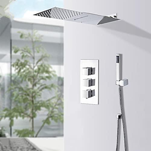 IOMLOP Sistema de Ducha Baño Moderno Conjunto de Ducha de Cascada de Lluvia Mezclador termostático Mezclador de Ducha de baño Grifo Cuerpo de latón, Tipo A