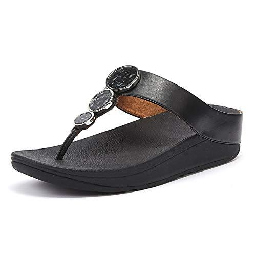 Sandalias de cuña de Mujer Fitflop de Piel sintética en Color Negro Modelo Fino