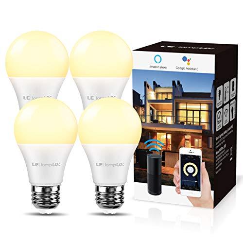 LE 9W Smart E27 LED Lampen, Warmweiß, Dimmbar LED Leuchtmittel, Wlan LED Birnen, Ersatz für 60W glühbirne, kompatibel mit Alexa und Google Home, 4 Pack