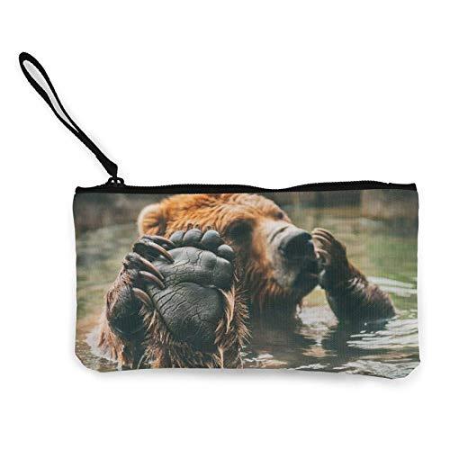 Bears Water Paws - Monedero de lona con cremallera, para mujeres y niñas