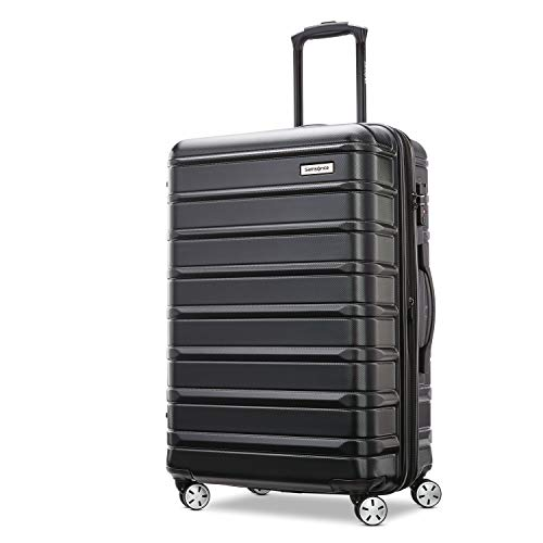 Samsonite Omni 2 Hardside Expandable Luggage with Spinner Wheels, Midnight Black, Checked-Medium 24-Inch