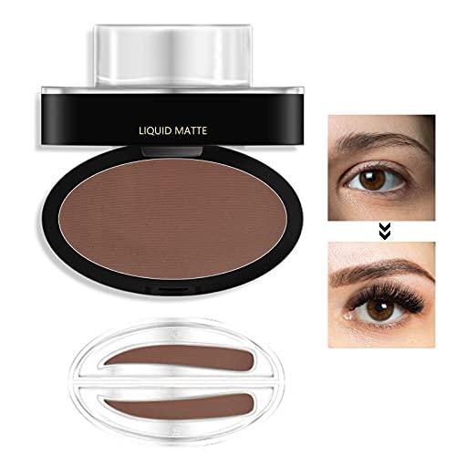 Poudre à sourcils, Kit de timbres pour sourcils, Kit de coloration pour la teinture des sourcils Poudre de forme naturelle idéale pour le maquillage des sourcils, Marron foncé