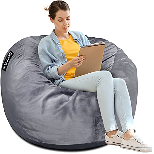 ANUWAA Bean Bag Chair, 3 Foot Memory Foam Bean Bag for Kids,Teens, Adults, Big Sofa with Fluffy Removable Microfiber Cover, Furnitures for Dorm Room and Living Room, Grey 3'