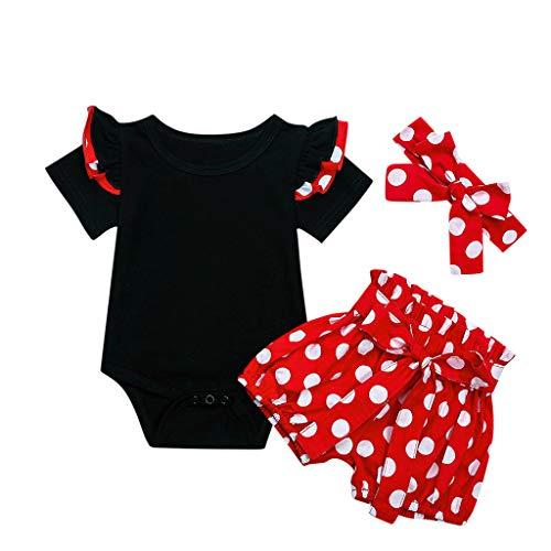 Camisa sin Mangas Floral + Pantalones Cortos + Cintas de Pelo Conjunto Verano Ropa para Ninas Bebe (6-12 Meses, Rojo)