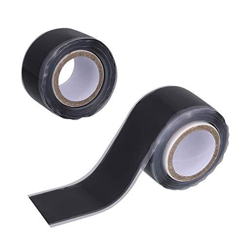 Heiqlay SelbstverschweißEndes Silikonband, Silikon Tape, Dichtungsband Wasserleitung, dichtband selbstklebend wasserdicht für um Leckagen zu stoppen (2 Stück, 0,5 mm x 25 mm x 1,5 m, Schwarz)