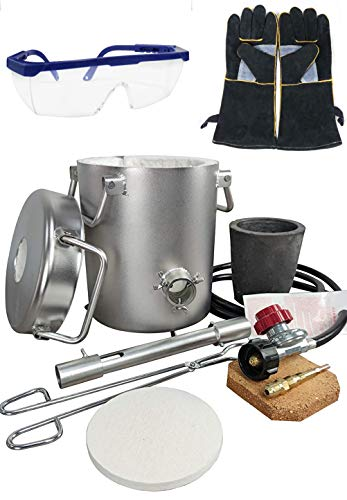 0-28LBS(12.8KGS) Gas/Propane Melting Furnace Kit, Stainless Steel 304,Up to 3272°F/1800°C,CRUCIBLE,Gloves,Goggles,TONGS Kiln,Melt Gold,Silver,Copper,Aluminum,Metal melting Furnace,Jewelry Casting