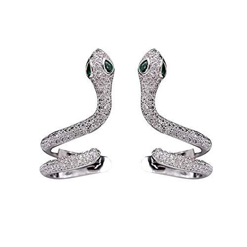 EVBEA Pendiente con forma de serpiente con circonita cúbica, perno para oreja derecha e izquierda, regalo para niña y mujer Blanco/Derecha E Izquierda
