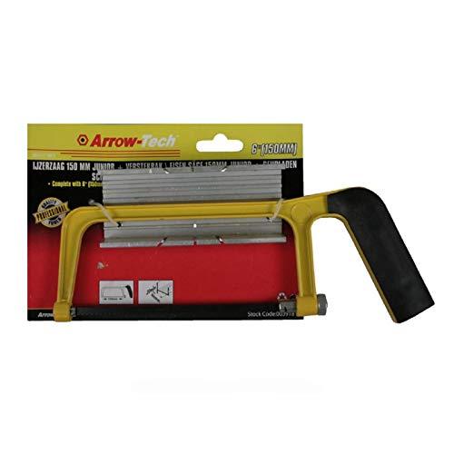 Mini 150 mm metaalzaag met versteklade, verstekzaag, ijzerzaag, beugelzaag, handzaag, zaag incl. zaagblad