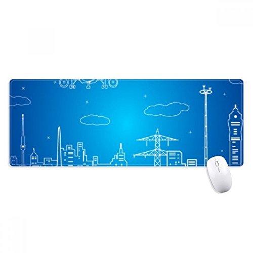 beatChong Metropoli Città Aircraft Nube Paesaggio Antisdrucciolevoli Mousepad Grande esteso Gioco Ufficio titched Bordi Mat Regalo Computer