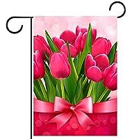 ウェルカムフラワーリースガーデンフラッグヤード両面チューリップ パティオ芝生の家の屋外の装飾の春のための庭の花の旗