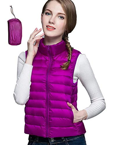Women Lightweight Quilted Vest Stand Collar Zip Up Front Jacket Coat Purple XL (US 12)