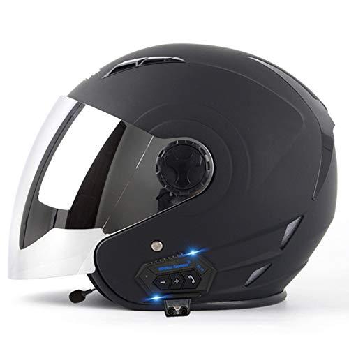 DJCALA Casco Moto Jet Bluetooth ECE Omologato Crash Caschi Moto Apribili con Visiera Scooter Caschi Aperto per Motociclette Sicurezza Casco Corsa Leggero Unisex