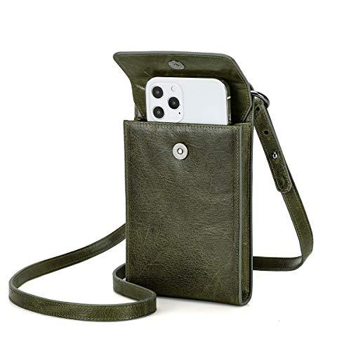 Contactos de cuero genuino Crossbody bolsa de teléfono tarjeta monedero para mujeres bolso de hombro viaje RFID bloqueo bolso embrague con correa