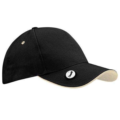 Beechfield Pro-style ball mark golf cap Black/ Putty