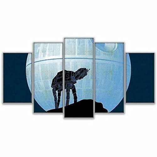 GHYTR Star WA Death Star ATAT Cuadro sobre Impresión Lienzo 5 Piezas Marco 150X80Cm HD Arte De Pared Modulares Sala De Estar Dormitorios Decoración para El Hogar Póster Regalo