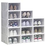 Shoe Storage Boxes Clear Plastic Stackable Shoe Organizer 12 Pack (White), Need to Assemble Yourself