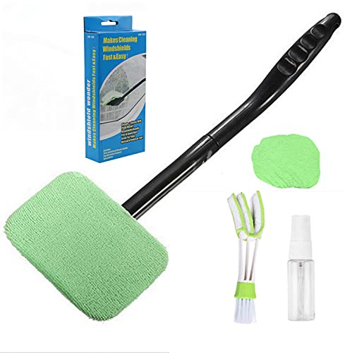 Car Window Cleaner Windshield Cleanser Auto Interior Cleaning Tool Window Glass Cleaning with Extendable Handle and Washable Reusable Cloth Pad Head Auto Interior Exterior Glass Wiper Car Cleaner Kit