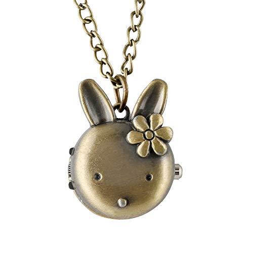 CAIDAI&YL Precioso Conejo Forma De Bolsillo Reloj Femenino De Aleación De Bronce De Cuarzo Colgante Reloj De Regalo Del Niño, Reloj De Bolsillo De Con