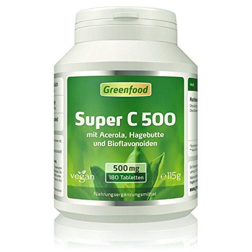 Super C, 500 mg Vitamin C, hochdosiert, 180 Tabletten, vegan – mit Acerola, Hagebutte und Bioflavonoiden, stärkt das Immunsystem, Anti-Aging. OHNE künstliche Zusätze. Ohne Gentechnik. Vegan.